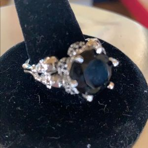 Sterling Silver and Black Sapphire Gem Skull Ring